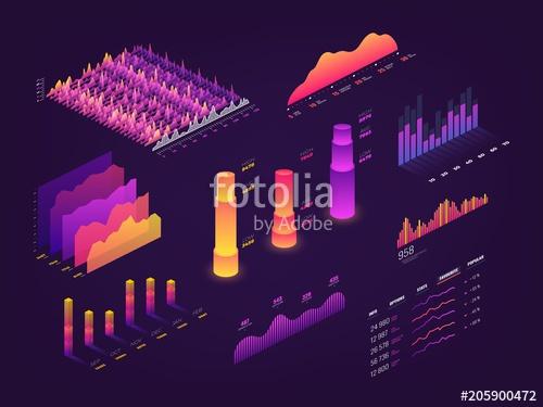 picture Vector charts statistics. Futuristic d isometric data
