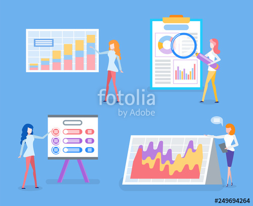 image stock Vector charts statistics. Data business graphics and