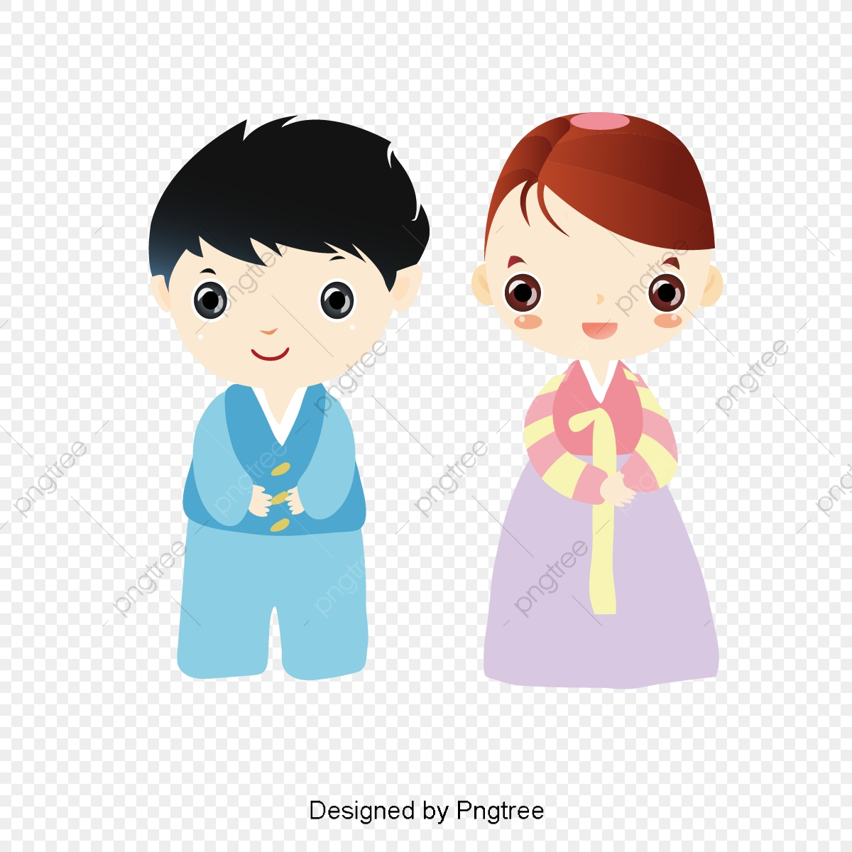 clipart black and white stock Vector clothing cartoon. Two kids wear korea
