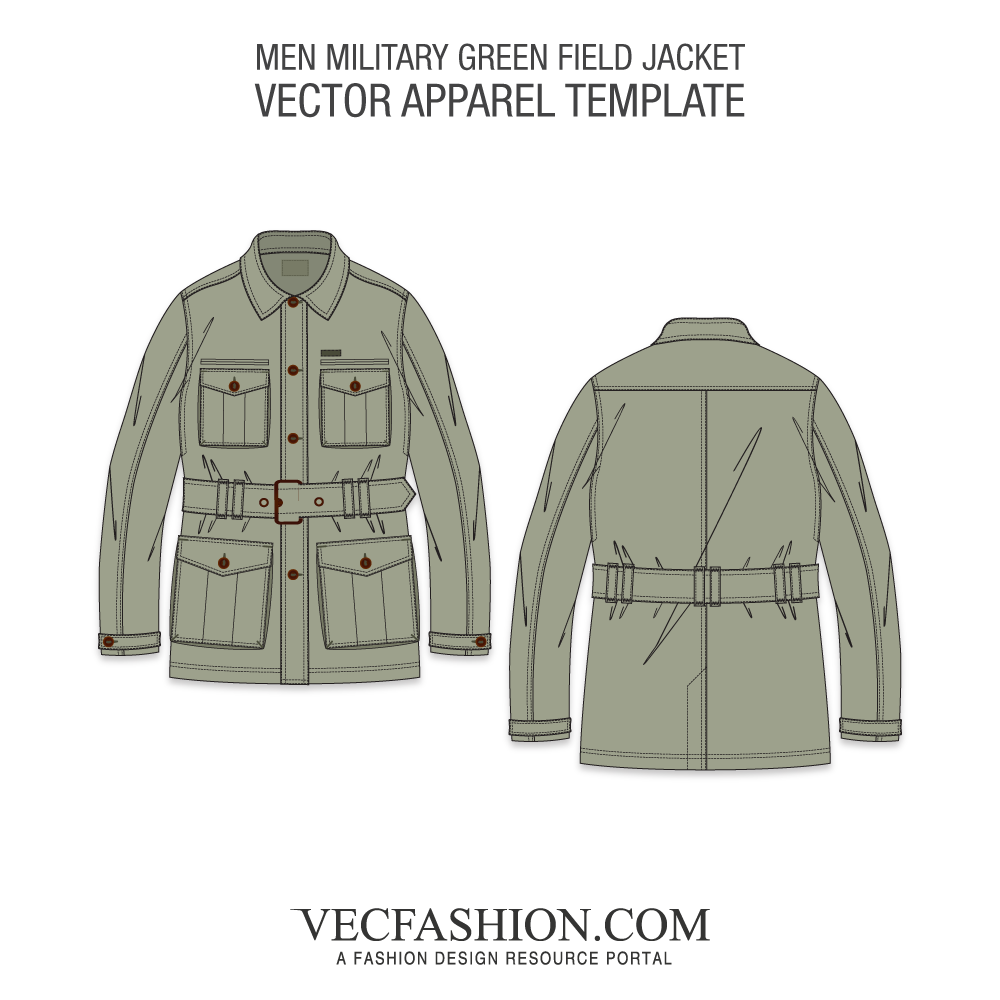 vector transparent download Military Green Field Jacket Template