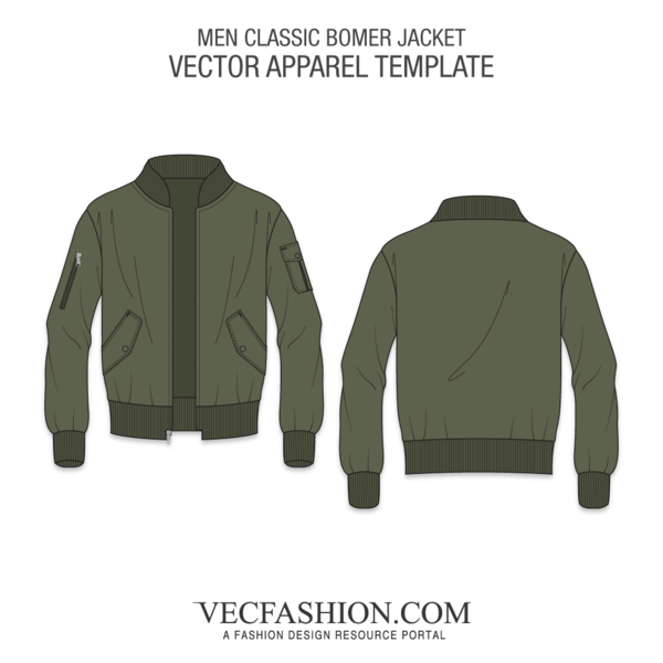 picture library library Men classic bomber jacket. Vector clothing fashion design