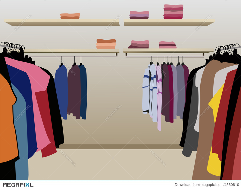 picture library library Vector clothing garment shop. Clothes in illustration megapixl