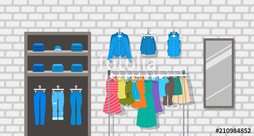 jpg transparent library Vector clothing hanged clothes. Women store indoor interior
