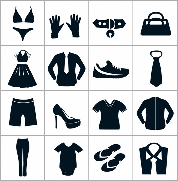 jpg royalty free stock Black department store icons. Vector clothing icon