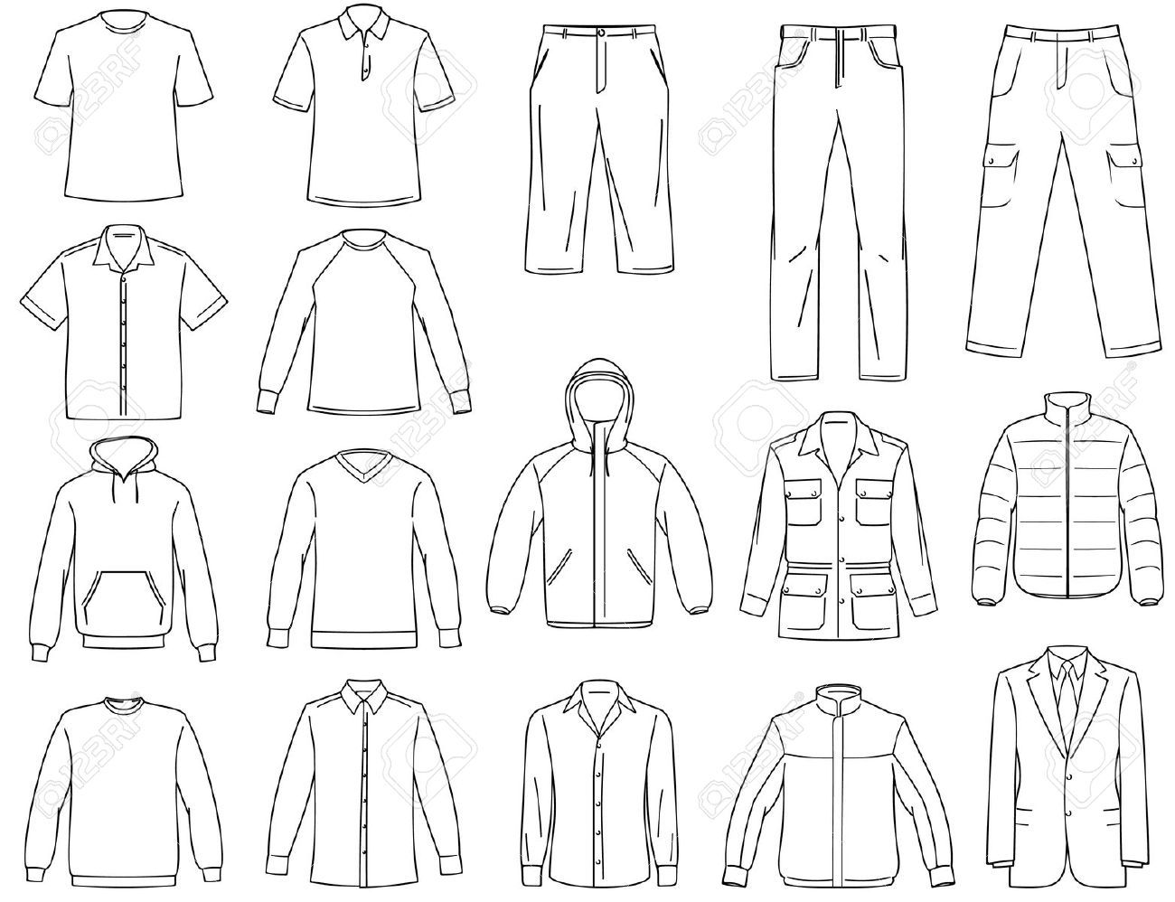 picture black and white stock Vector clothing man clothes. Stock in templates illustration