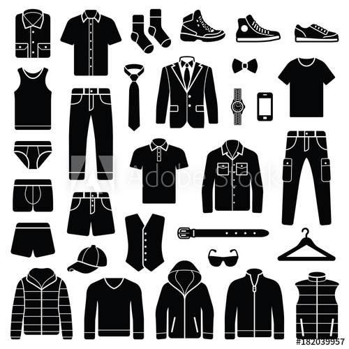 picture transparent And accessories collection fashion. Vector clothing man clothes