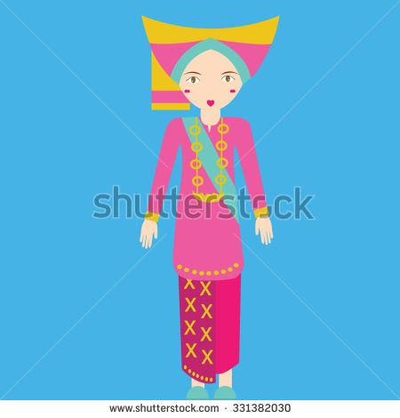 svg Indonesia minang padang sumatra. Vector clothing pakaian.