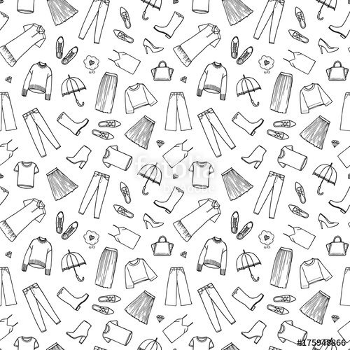 vector black and white Hand drawn women s. Vector clothing pattern