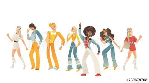 image free Disco dancing people illustration. Vector clothing retro mens fashion
