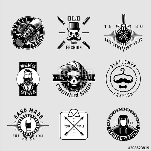 picture freeuse library Street vintage lables male. Vector clothing retro mens fashion