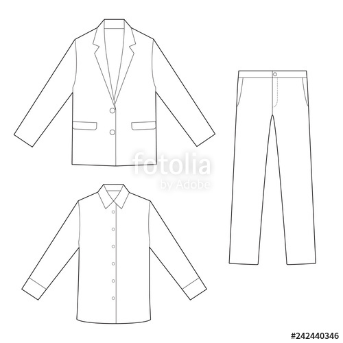 clip library library Outer jacket pants set. Vector clothing shirt pant