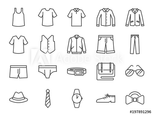 royalty free download Men clothes icon set. Vector clothing shirt pant