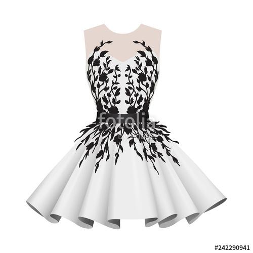 clip freeuse stock Elegant white with black. Vector clothing short dress
