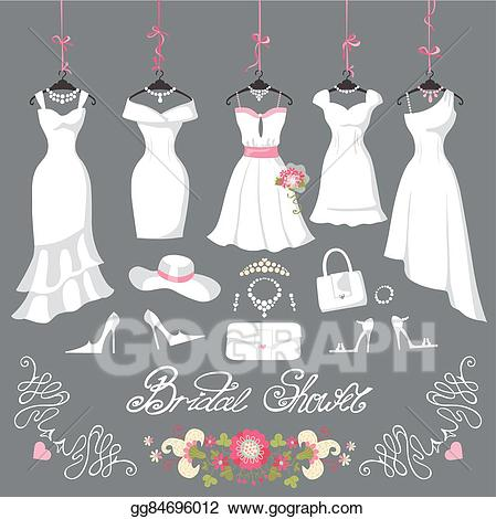jpg library library Vector clothing short dress. Illustration bridal dresses hang