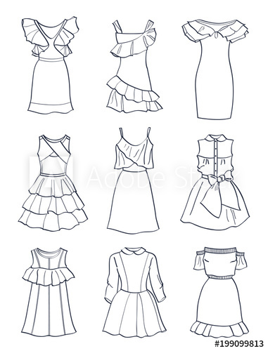image royalty free stock Vector clothing short dress. Set of contours cute
