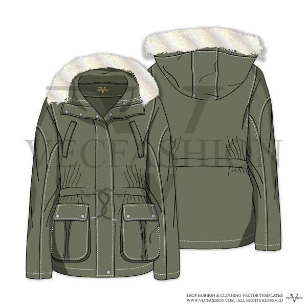 png royalty free download Vector clothing sketch men's. Women parka jacket template