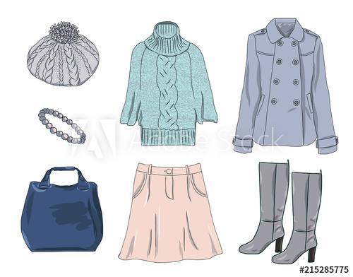 jpg free Vector clothing spring. Stylish fashion set of