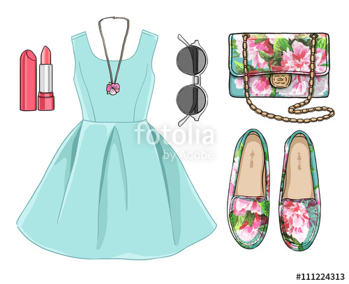 image freeuse library Vector clothing spring. Lady fashion set of