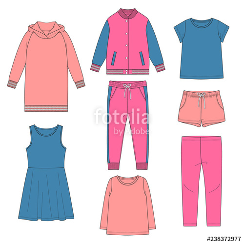 clipart royalty free Set of girl s. Vector clothing spring