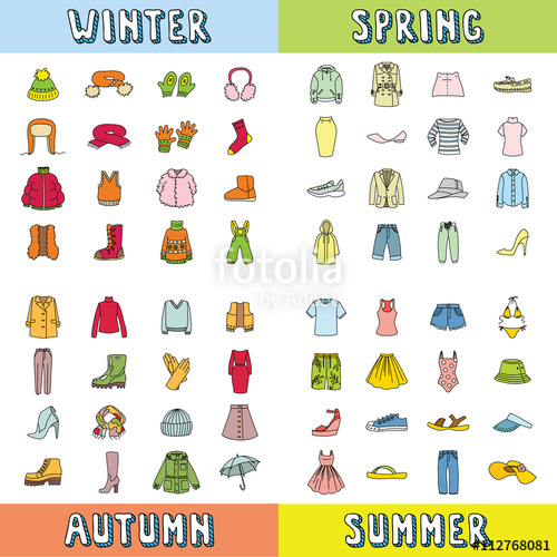 clip library Vector clothing spring. Big set of icons