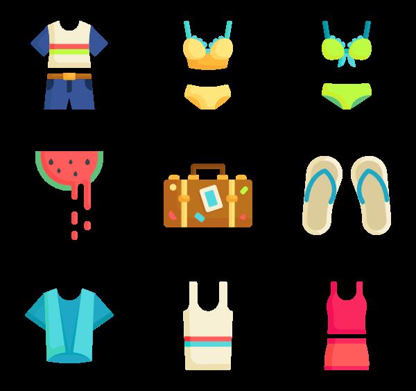 vector transparent Cloth summer Icons