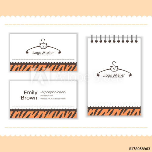 vector free library Branding for the children. Vector clothing visiting card