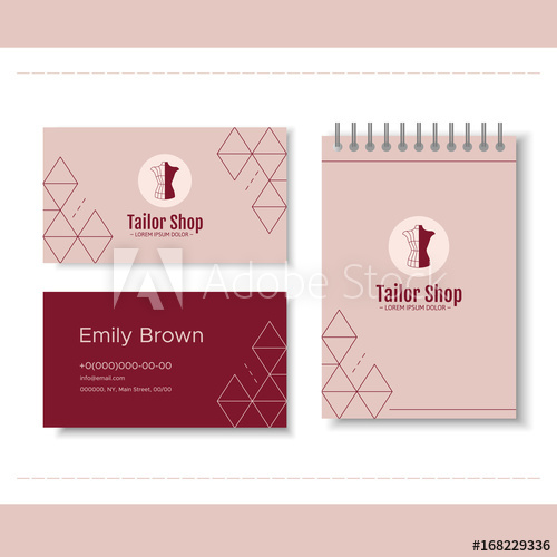banner freeuse download Vector clothing visiting card. Branding for tailor shop