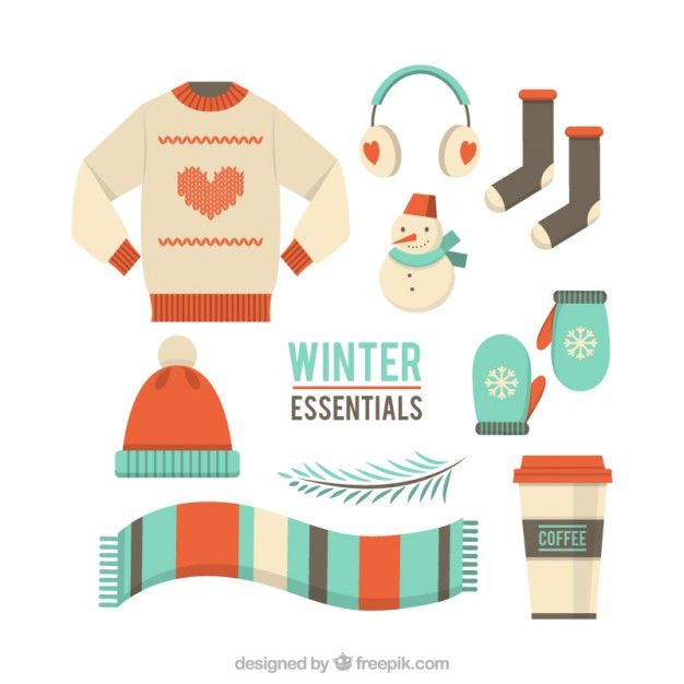 image freeuse library Vector clothing winter. Clothes set free
