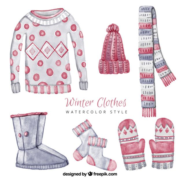 graphic transparent stock Beautiful watercolor clothes set. Vector clothing winter