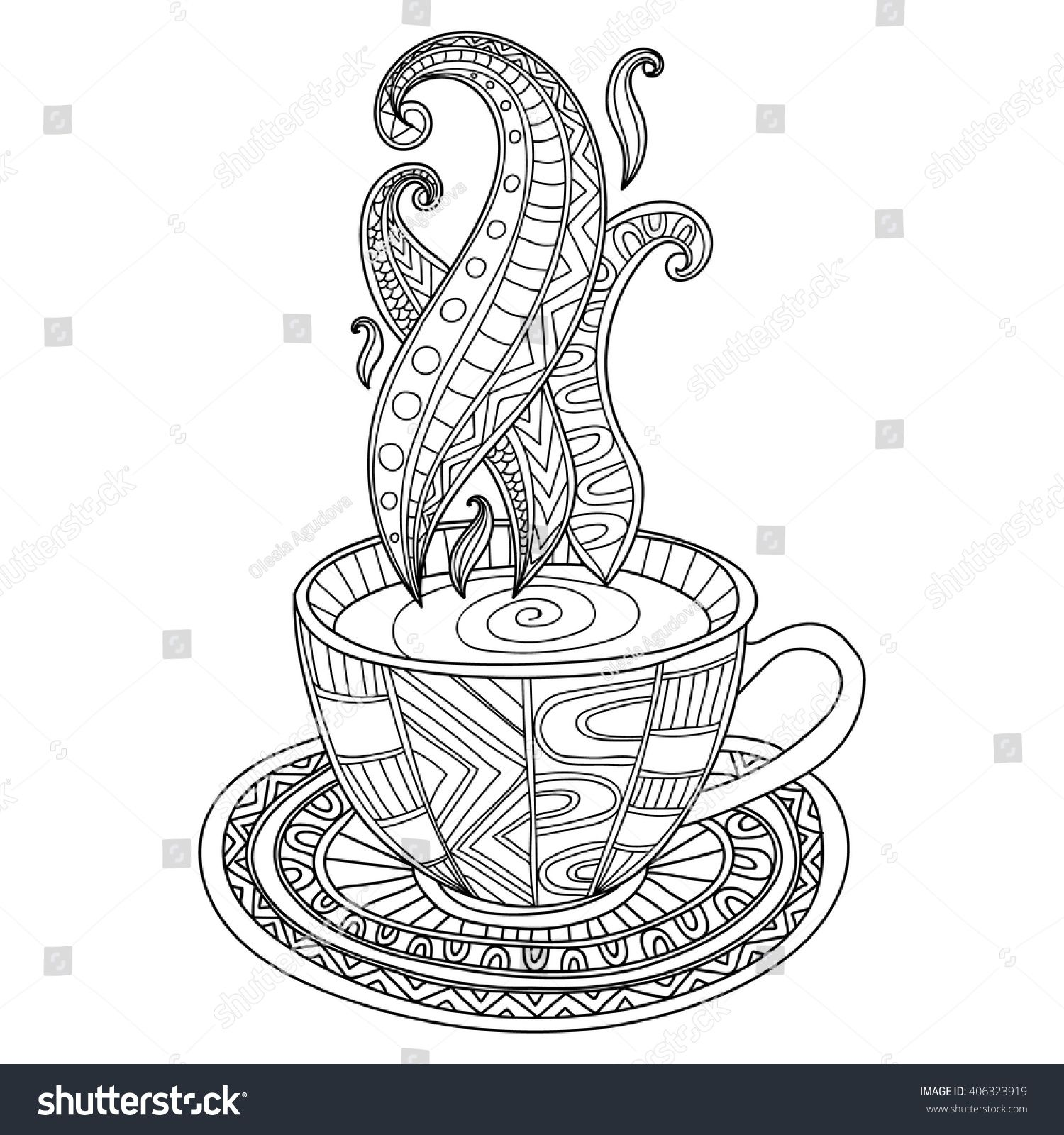graphic black and white stock Or tea cup with. Vector coffee abstract