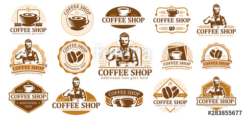 clipart transparent Set of logo label. Vector coffee badge