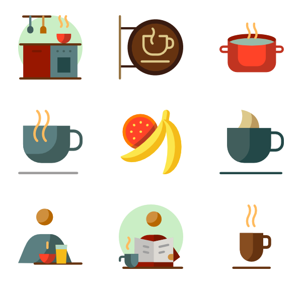 svg freeuse  icon packs svg. Vector coffee breakfast