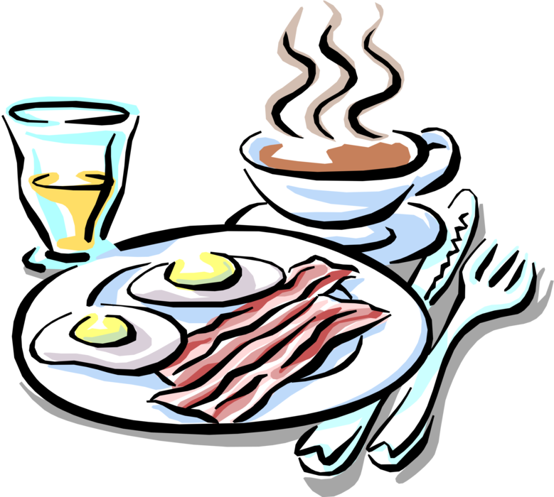 graphic freeuse library Vector coffee breakfast. Bacon and eggs juice