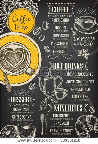 picture royalty free download Vector coffee breakfast. Restaurant brochure shop menu