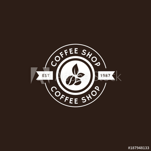 banner royalty free Vector coffee caffeine. Vintage logo and label