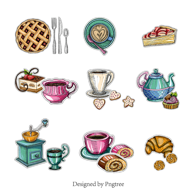 vector freeuse library Hand painted drink dessert. Vector coffee cartoon