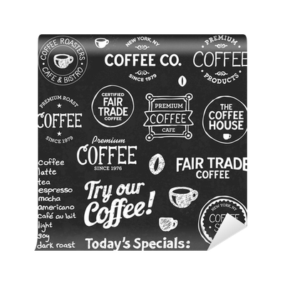 clipart stock Vector coffee chalkboard. Text and symbols wall