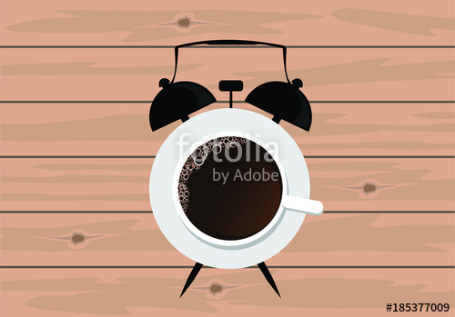 clip art Vector coffee clock. Cup abstract illustration time