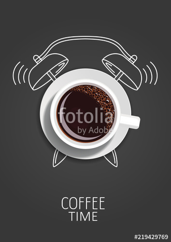 vector transparent library Vector coffee clock. Time realistic cup and