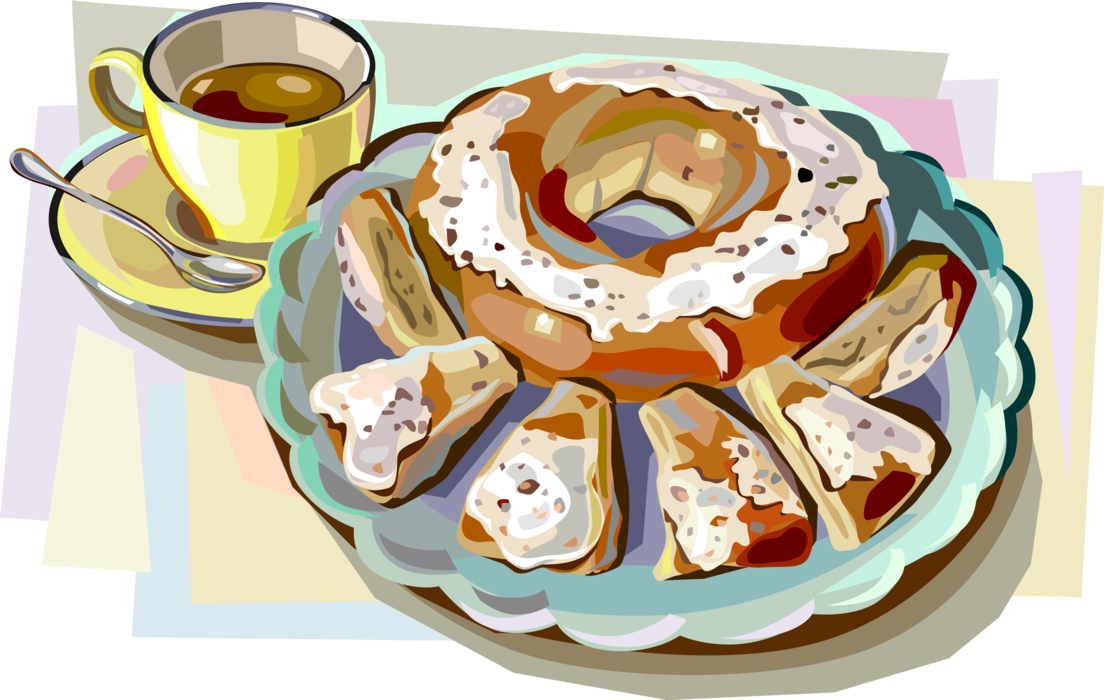 jpg library library Vector coffee dessert. Danish pastry and image