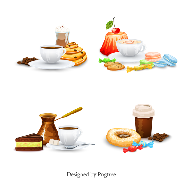 image stock Cartoon drink food drinks. Vector coffee dessert