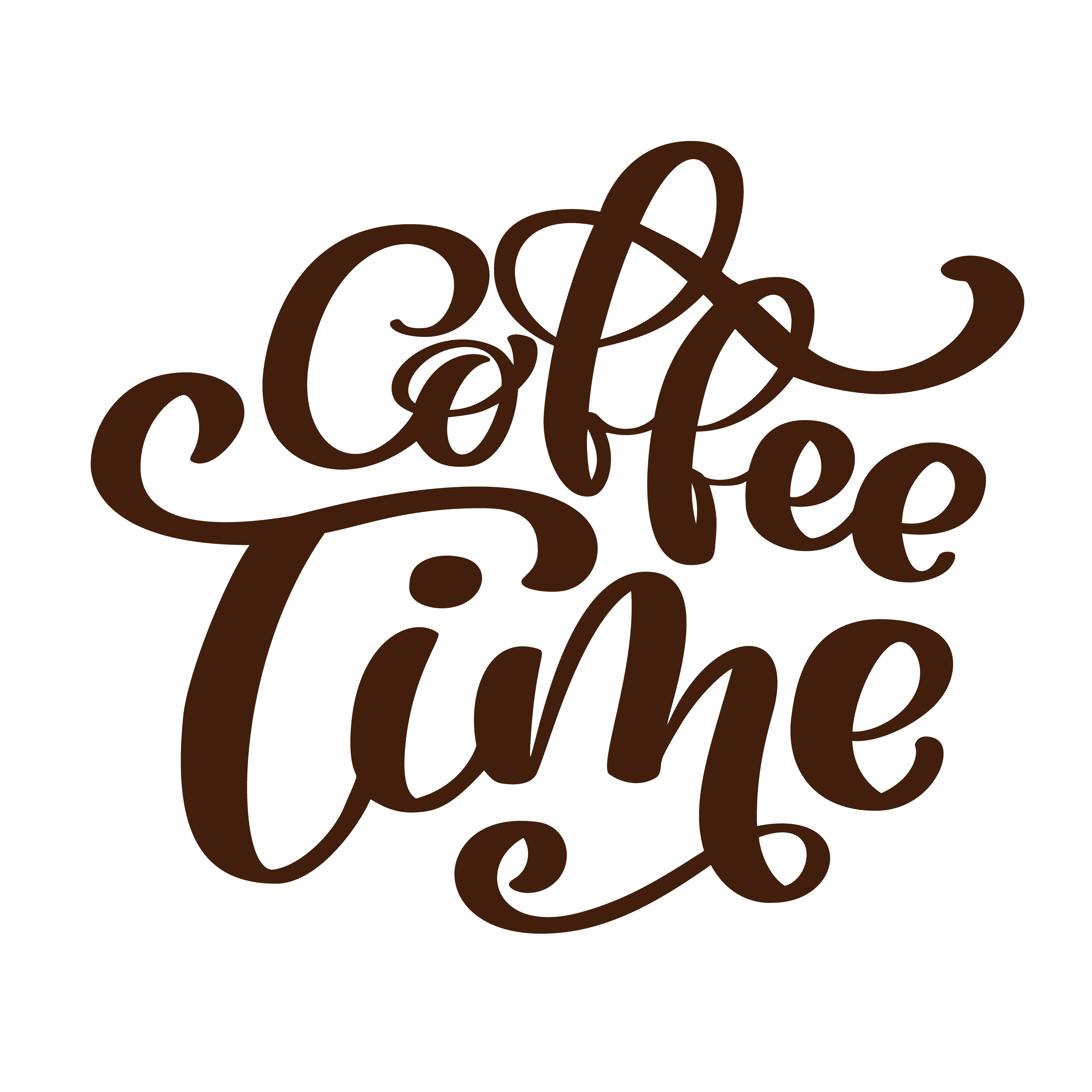 clipart black and white Vector coffee lettering. Phrase time hand drawn