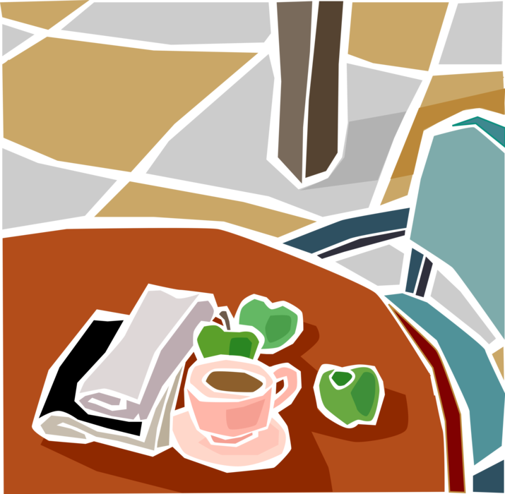 transparent Morning with fruit and. Vector coffee newspaper