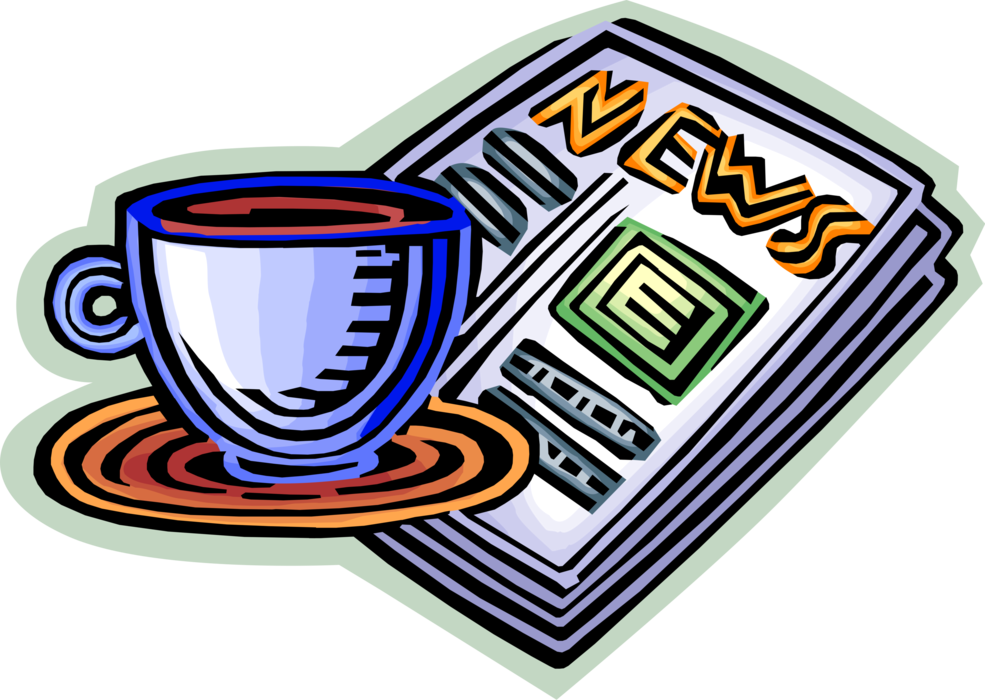 clip library library Vector coffee newspaper. Morning cup of and