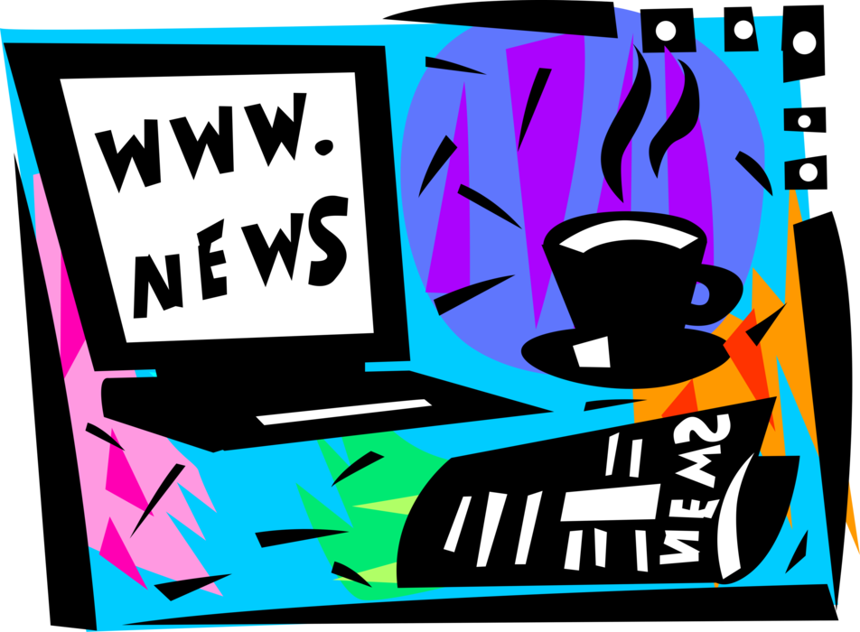 clipart free With internet news image. Vector coffee newspaper
