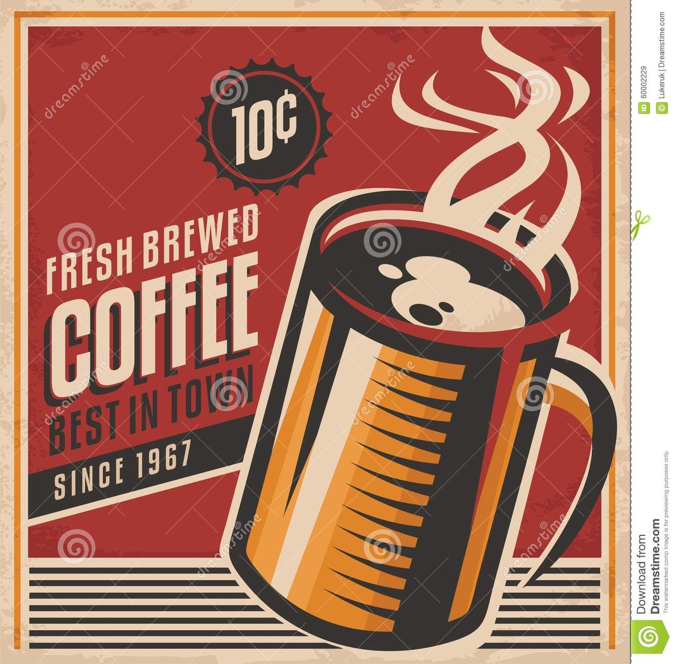 picture royalty free library Vector coffee poster. Retro shop design