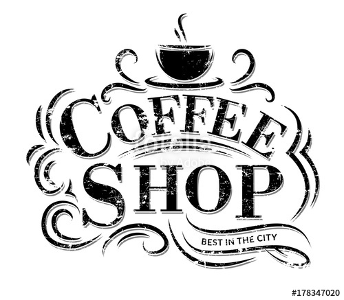vector library library Vector coffee shop. Logo with grunge effect