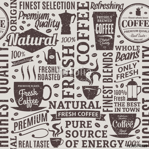 image library download Retro styled typographic seamless. Vector coffee shop