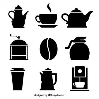 clip art transparent library Vector coffee silhouette. Variety of icons deviantart