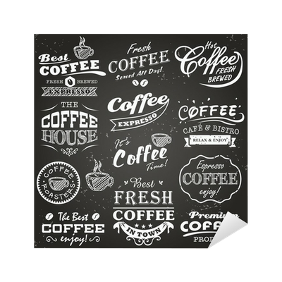 banner royalty free Vector coffee typography. Collection of shop sketches